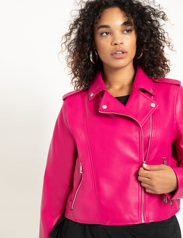 Faux Leather Moto Jacket in Verry Berry