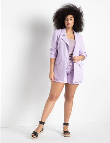 High Waisted Button Fly Shorts in Lavender