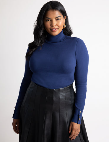 Button Cuff Turtleneck Sweater in Navy