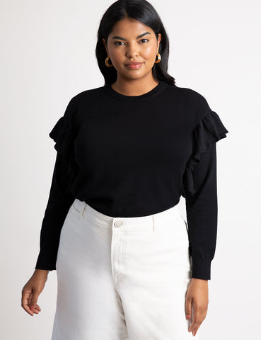 Flutter Sleeve Sweater in Totally Black