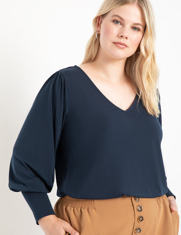 Dramatic Sleeve V-Neck Top in Deep Sapphire