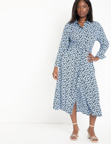 Relaxed Midi Collared Dress in Floral