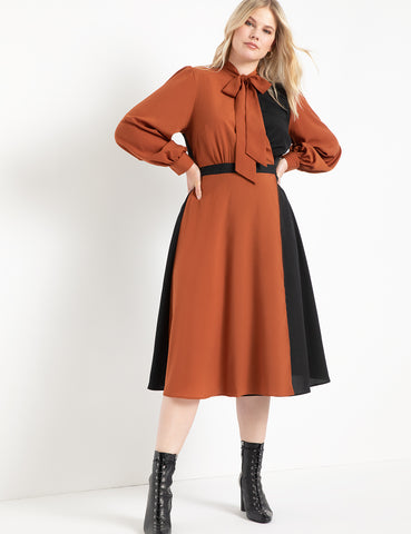 Colorblocked Dress in Tan/Totally Black