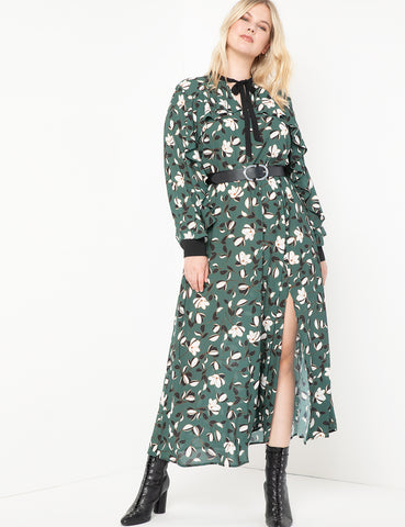 Printed Maxi Dress With Slit in Multiflora