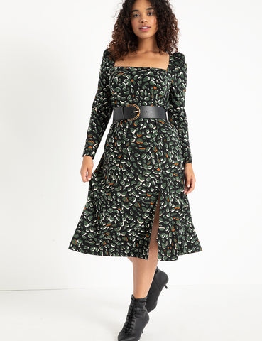 Puff Sleeve Square Neck Midi Dress in That Leo Life