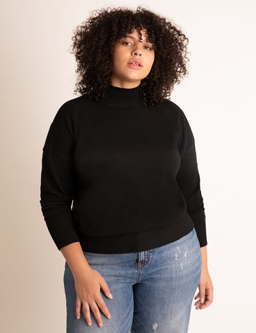 V-Back Turtleneck Sweater in Totally Black