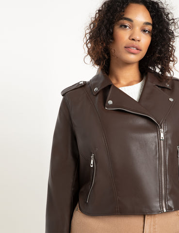 Faux Leather Moto Jacket in Melted Chocolate
