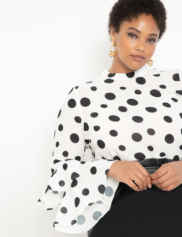 Dramatic Sleeve Top in White + Black Dots