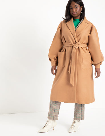 Puff Sleeve Robe Coat in Camel