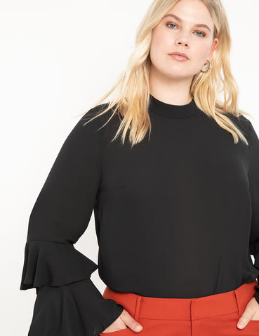 Dramatic Sleeve Top in Totally Black