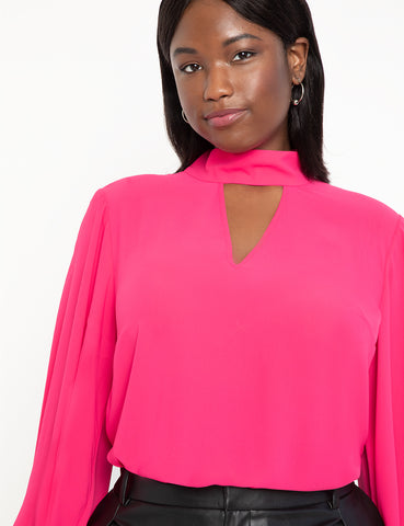 Dramatic Sleeve Blouse with Cutout in Peony Pink