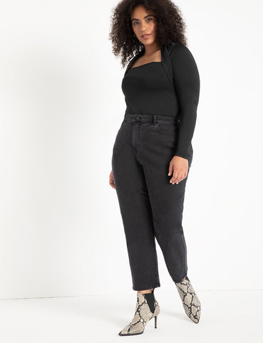Crop Stretch Mom Jean in Washed Black