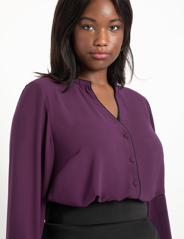 Button Down Blouse with Piping in Potent Purple + Black Piping