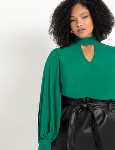 Dramatic Sleeve Blouse with Cutout in Evergreen