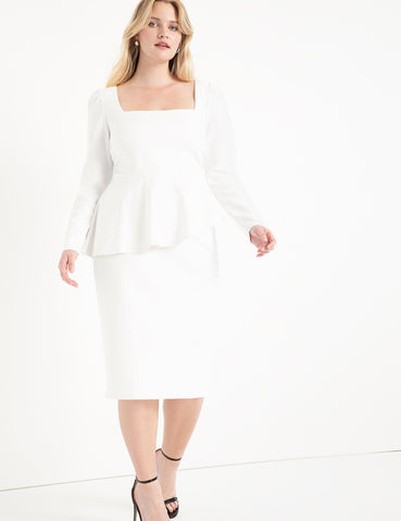 Square Neck Puff Sleeve Dress With Peplum in Soft White