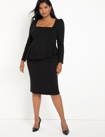 Square Neck Puff Sleeve Dress With Peplum in Black