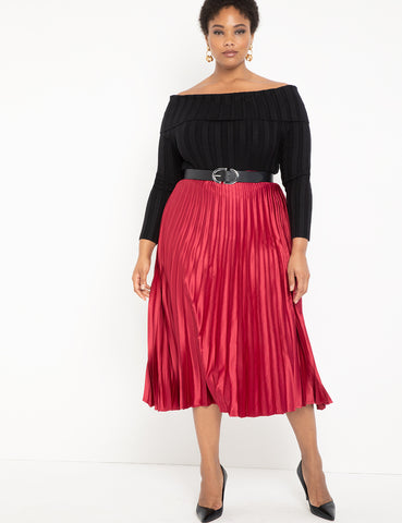 Sunburst Pleated Skirt in Rosewood