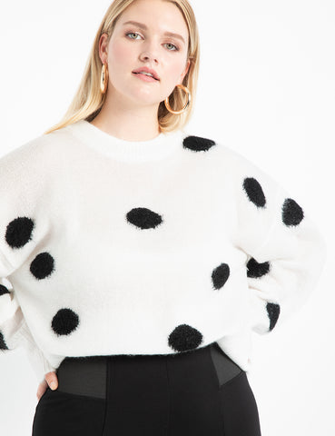 Dot Sweater in Ivory + Black Dots