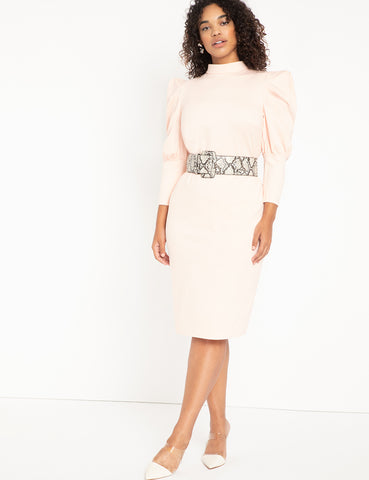 Turtleneck Bodycon With Puff Sleeves in Peachy Keen