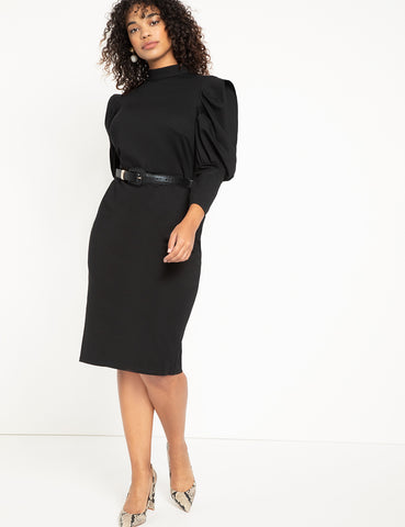 Turtleneck Bodycon With Puff Sleeves in Totally Black