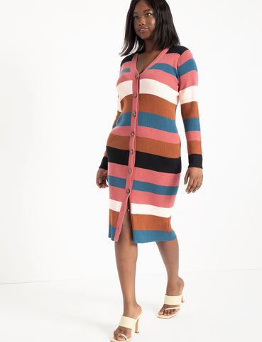 Striped Cardigan Sweater Dress in Combo Stripe