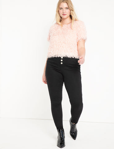 Peach Lift Button Fly Jean in Black