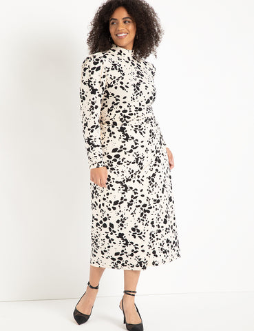 T-Neck With Wrap Skirt Dress in Dalmatian Dot Pink