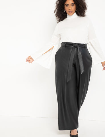 Tie Waist Wide Leg Faux Leather Pant in Black