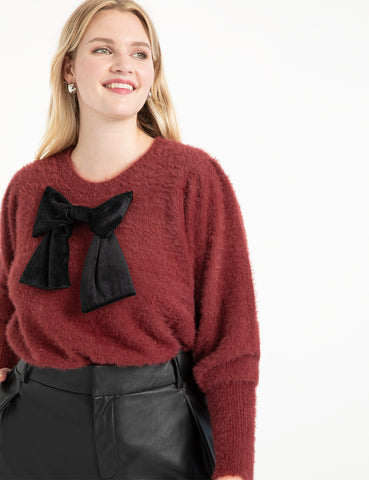 Puff Sleeve Sweater with Bow in Oxblood