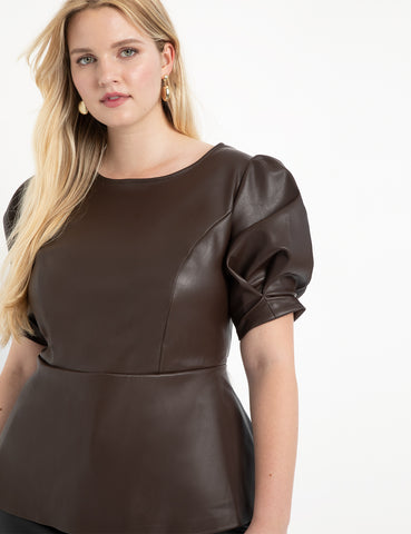 Faux Leather Puff Sleeve Peplum Top in Melted Chocolate