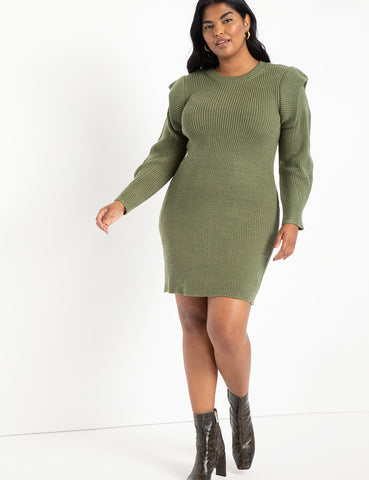 Folded Shoulder Ribbed Sweater in Olive