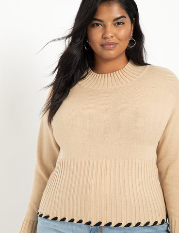 Tipping Detail Sweater in Sand