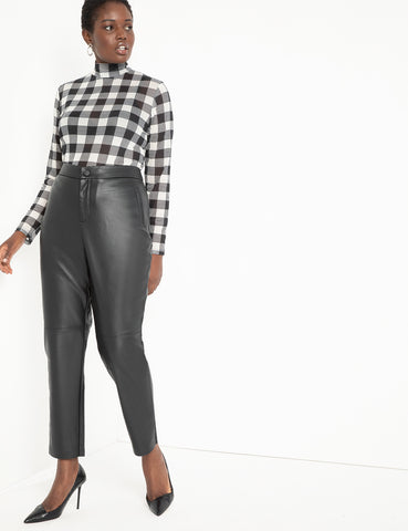 Slim Faux Leather Pant in Black