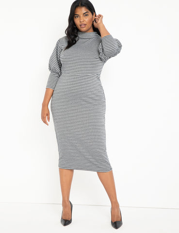Houndstooth Puff Sleeve Dress in Black/White