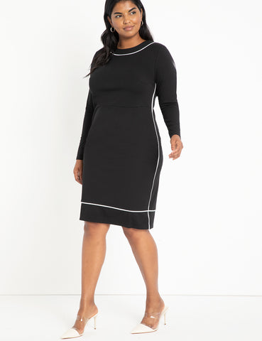 Piped Midi Dress in Black