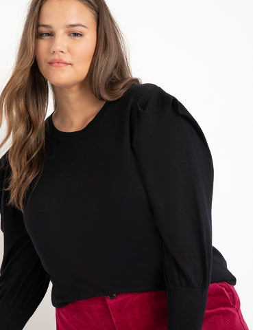Pleated Sleeve Sweater in Black