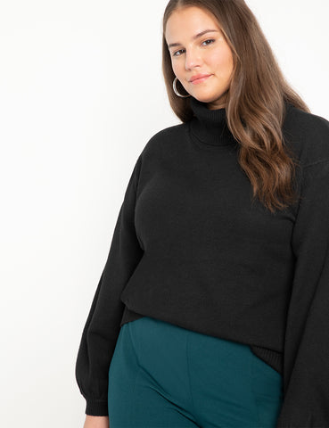 Puff Sleeve Sweater in Black