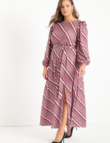 Boat Neck Maxi Dress With Ruffle in Stripe Chic