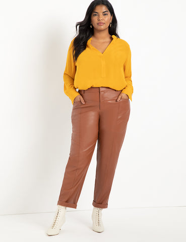 Faux Leather Trouser with Yoke in Cognac