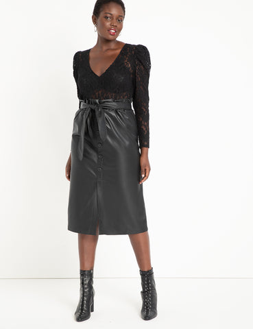 Button Front Faux Leather Skirt in Totally Black