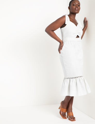Midi Dress With Trim Detail in Soft White