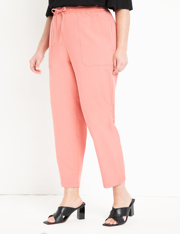 Pull On Pant With Patch Pocket in Pink Rouge