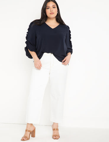 Ruffle Tulip Sleeve Blouse in Sky Captain