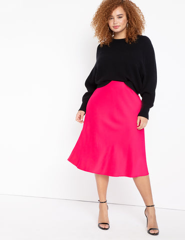 Satin Midi Skirt In Magenta