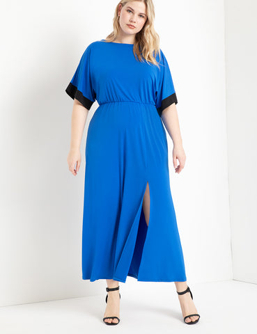 Dolman Sleeve Maxi Dress With Slit in Piction Blue