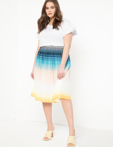 Pleated Midi Skirt in Ombre Horizons