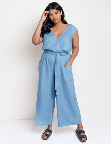 Tie Front Chambray Jumpsuit in Light Wash