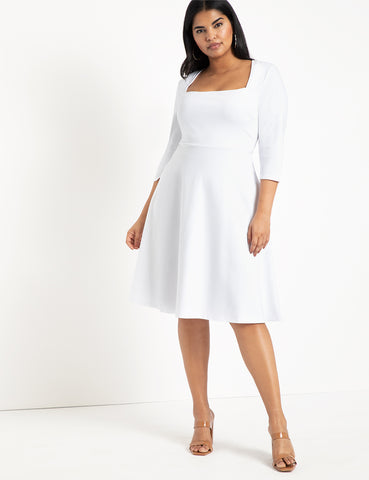 Three-Quarter Sleeve Fit And Flare Dress in White