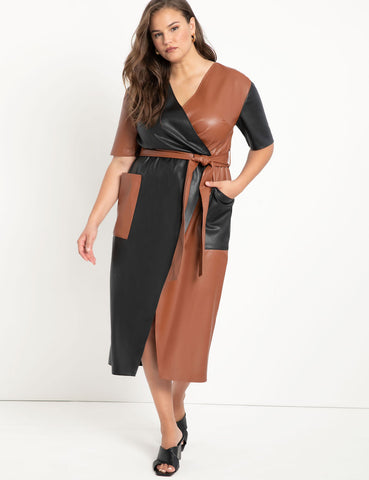 Colorblocked Faux Leather Wrap Dress in Totally Black / Peru Tan