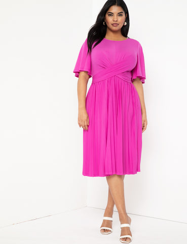 Wrap Midi Dress With Pleated Skirt In Orchid Fantasy